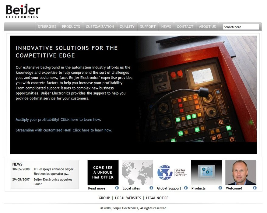 Beijer Electronics launches its new HMI website for machine builders