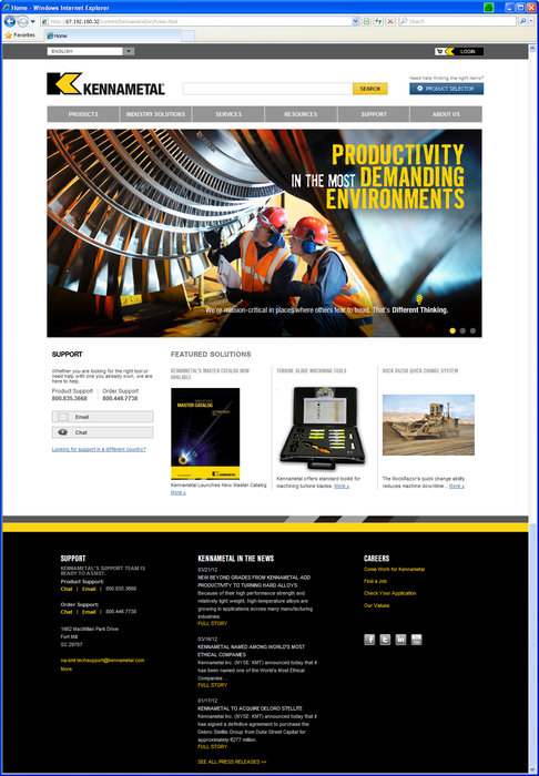 Global Reach, New Levels of Knowledge Access Emphasized in New Kennametal Website