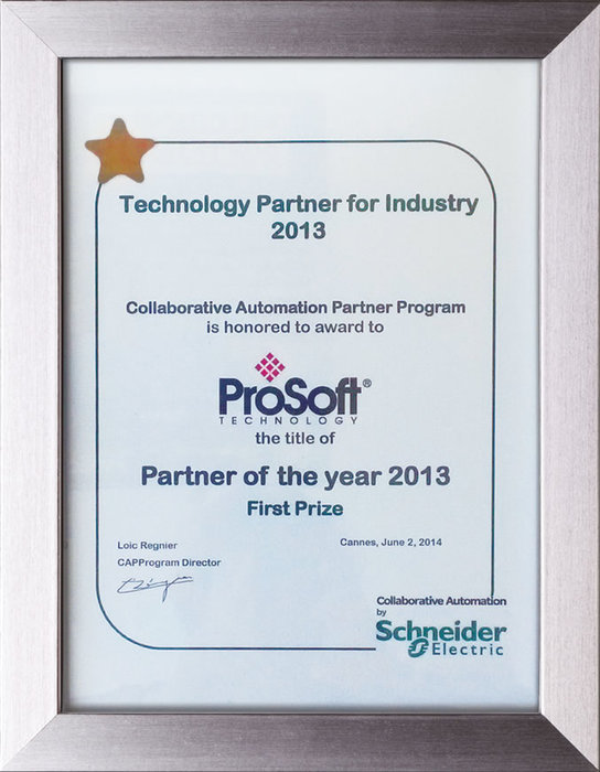 "ProSoft Technology wins ""Partner of the Year"" award at Schneider Electric – by Lauren Robeson"